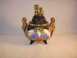 Sehr Schöne Alte Japanische Porzellan - Dose - Duftlampe Handbemalt Gemarkt Bild