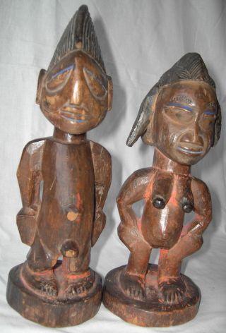 2 X Yoruba Figur Antik Holz Zwillinge Ibeji Aus Nigeria - Holzfigur Afrika 28 Cm Bild