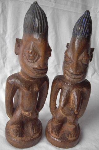 2 X Yoruba Figur Antik Holz Zwillinge Ibeji Aus Nigeria - Holzfigur Afrika 25 Cm Bild