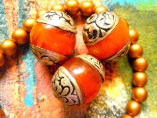 Neue Tibetische Honigfarbene Amber - Perlen Mit Silber - Enden - Ca.  20x16mm - Bild