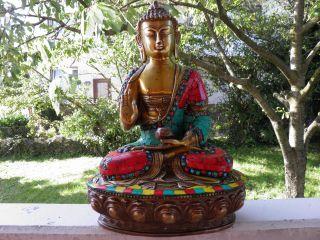 Buddha Statue Shakyamuni Aus Nepal Bronze,  Türkiesen,  Korallen,  25 Cm,  3,  5 Kg Bild