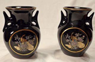 Wunderschöne Kleine Vasen Motiv Pfau Schwarz Gold 2 Stück Japan Bild