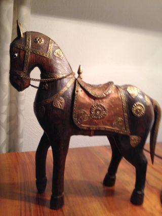 Reiseandenken Aus Indien,  Holz - Pferd Mit Intarsien - Handarbeit - Bild