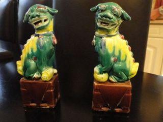 2 Seltene,  Asiatische Tempelhunde,  Keramil,  Schrankdeko Bild