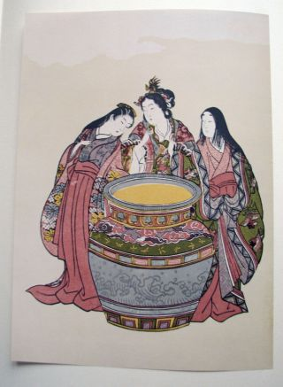 12 Japanische Holzschnitte /drucke Beautyful Women Harunobu Woodcut Erbstück Bild