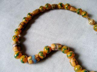 Afrikanische Handgefertigte Alte Glasperlen Kette/halskette Grün Braun Bild