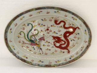 Platte China 18.  / 19.  Jahrhundert Handarbeit Feinste Glasur Drachenmotiv Bild