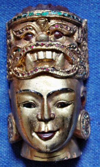 Maske Holz Goldfarben Aus Burma Bild