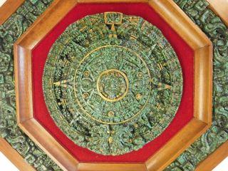 Wandbild Azteken Maya Kalender Wand - Relief Steinguss Achteck Bild