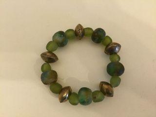 Weihnachten Wunderschöne Krobo Beads 15 Grüne Perlen 5 Spacer Ghana Afrika Top Bild