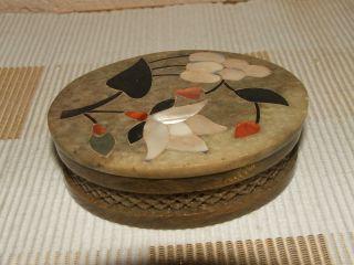 Handgeschnittene Steindose - Etui - Dose Mit Perlmutt Intarsien Bild