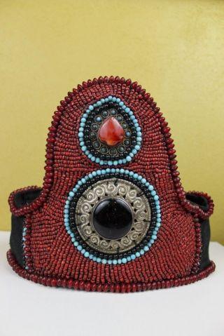 Kopfschmuck Tibet Für Religiöse Zeremonie Koralle Opal Achat Türkis Tracht Bild