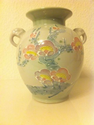 Vase Keramik Porzellan Made In Japan 21,  5 Cm Blumenmuster Handgemalt Bild