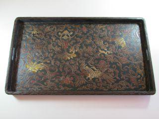 Großes Japanisches Lacktablett,  Holz,  Um 1900 / 20,  Ca.  31,  5 X 54,  5 Cm Bild