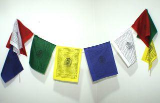 10 Gebetsfahnen Je 25x20cm = 2 M Länge Rayon Buddha Tara Tibet Indien Nepal Asia Bild