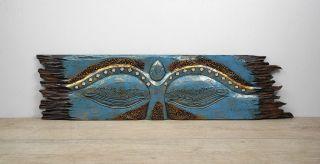 Wandbild Bild Buddhas Auge Holzschnitzerei Indonesien Holz 100cm Asien Türkis Bild