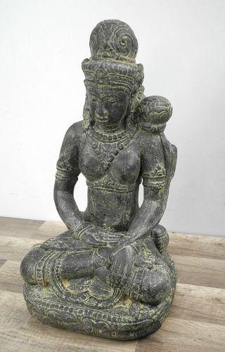 Buddha Figur Skulptur Sitzend Lavasand Indonesien Stein 48cm 16kg Bild
