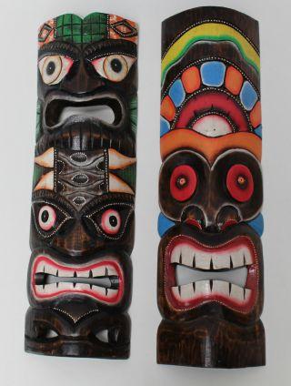 2 Hawaii Masken Südsee Style Aloha Tiki Wandmasken Maske 50cm Maskenset 82/78 Bild