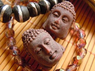 Letzter Rustikaler Terrakotta Brown Ton Buddha - Kopf - 24x16mm - Bild