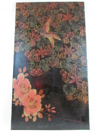 Alte Japanische Lackarbeit Auf Holz,  Kolibri,  Blüten,  Um 1900/20,  Ca.  29,  5 X 53 Cm Bild