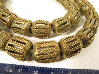 Schöner Strang Messingperlen Gelbguß Ghana Brass Beads Ashanti Akan Afrozip Bild