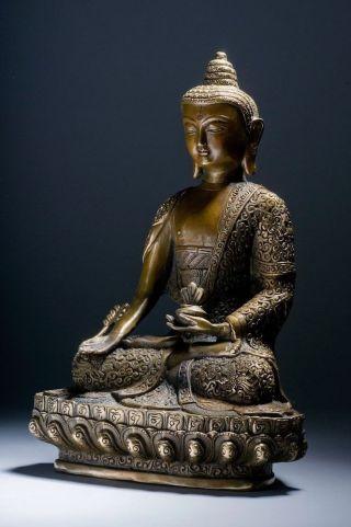 Medizin Buddha Statue Bronze Figur Tibet Buddhismus Healing Skulptur Aus Asien Bild
