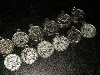 12 Silber Sternzeichen Anhänger Amulett Beads Waage,  Fische Jungfrau Alle Bild