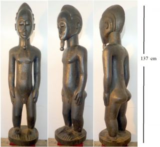 Baule,  Skulptur,  Afrika,  Holzfigur,  Männlich,  134 Cm Groß Bild