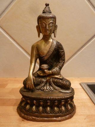 Hand Crafted Buddha Statue Tibet Buddhismus 900g Messing Silber Kupfer Nepal Bild