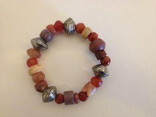 Weihnachten Wunderschöne Alte Beads 20 Rot Beige 4 Spacer Ghana Afrika Top Bild