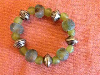Weihnachten Wunderschöne Krobo Beads 30 Grüne Perlen 5 Spacer Ghana Afrika Top Bild