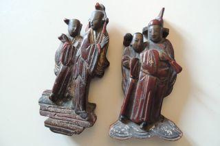 China Holzschnitzerei 2 Antike Figuren - Elemente / 19 Jh. Bild