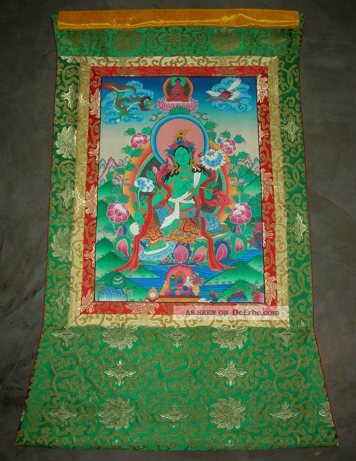 Wunderschöner Feiner Thangka Aus Nepal: Grüne Tara In Brokat Riesig ...