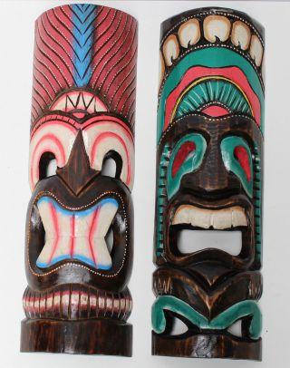 2 Hawaii Masken Südsee Style Aloha Tiki Wandmasken Maske 50cm Maskenset 51/50 Bild