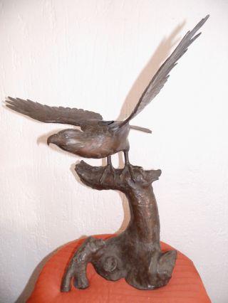Sehr Alter Mehrteilig Bronze Adler Falke ? Japan Meiji Censer Räuchergefäß Bild