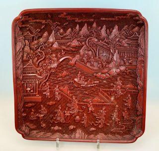 Altes Chinalack Schnitzlackdekor Tablett Sig.  Große Szenerie,  Red Carved Lacquer Bild