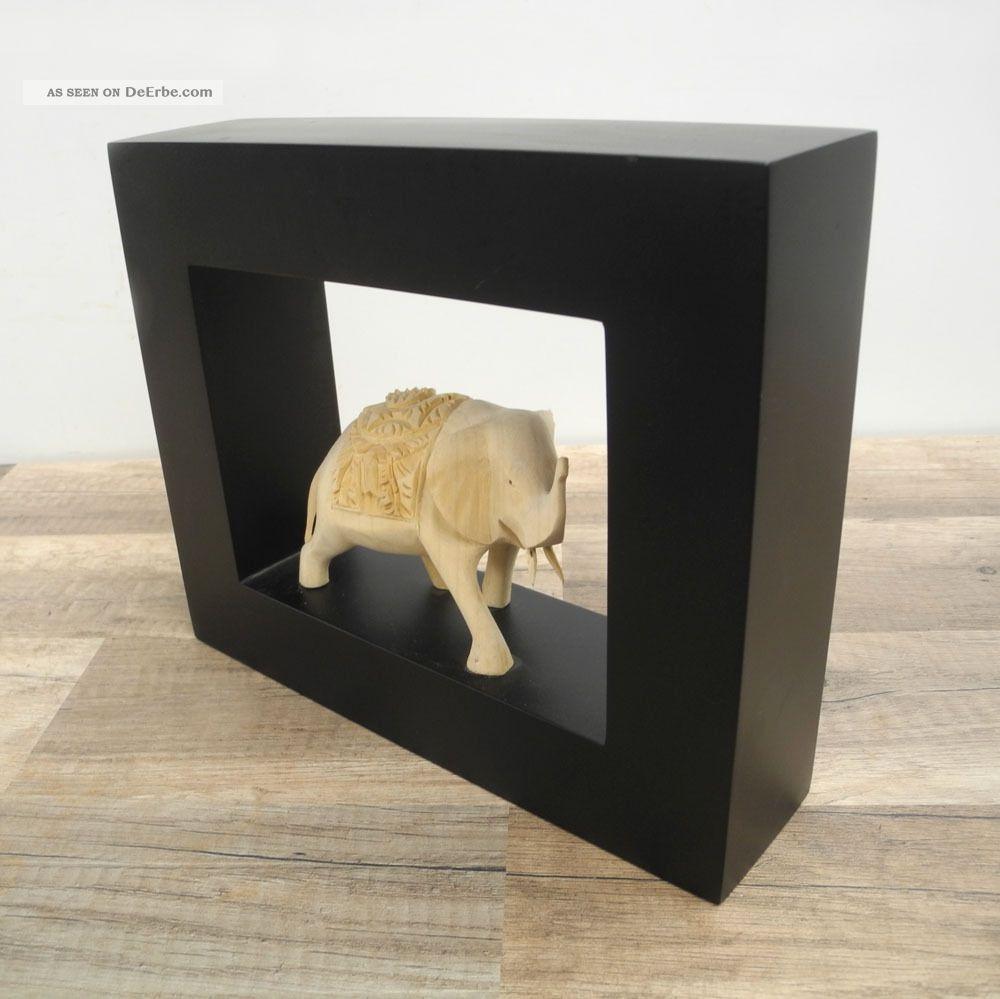 Elefant Elephant Wandbild Rahmen Figur Relief Skulptur Massiv Holz Nr. 3