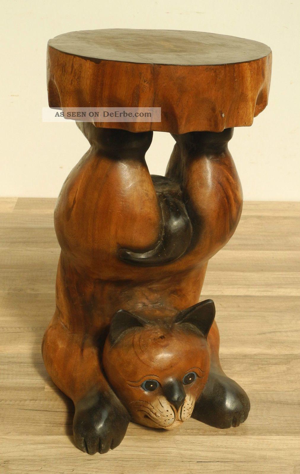 Katze Katzenhocker Cat Ablage Beistelltisch Tisch 51cm
