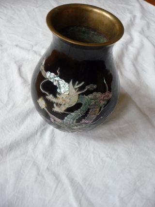 Metall Email Kupfer Vase Schwarz Mit Perlmutt Motiv Drachen Bild