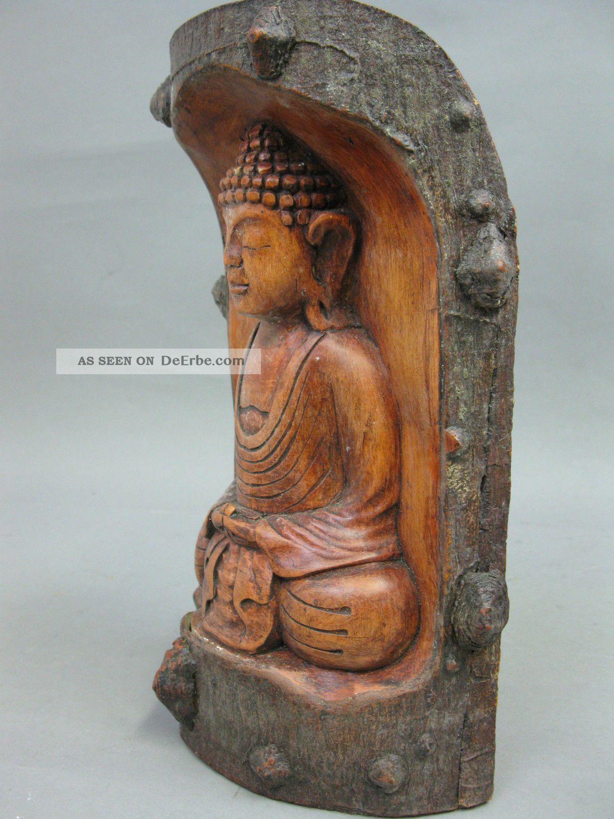 Geschnitzter buddha aus holz 26cm hoch buddha figur for Buddha figur holz