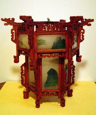 Lampe,  Asiatika - Kunst,  Holz Mit Glas,  Alter Unbekannt. Bild