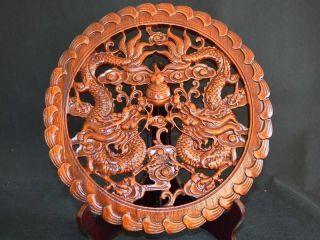 28.  0cm Wunderbares Alte Kampfer,  China Handarbeit Double Drache Skulptur Schmuck Bild