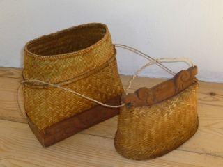 Antike Tasche Umhängetasche Handtasche Korb Bast Geflochten China Asiatika Bild