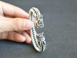 Cool Sammeln Alte Chinesische Miao Silber,  Drache Armbänder Bild