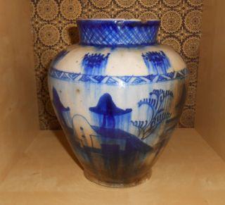 Antike Antique Vase Porzellan Asiatika Chinese China Blaumalerei Gemarkt Signed Bild