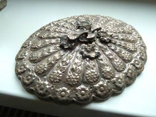 Osmanische Handspiegel Massiv Silber Relief Pfau Bild