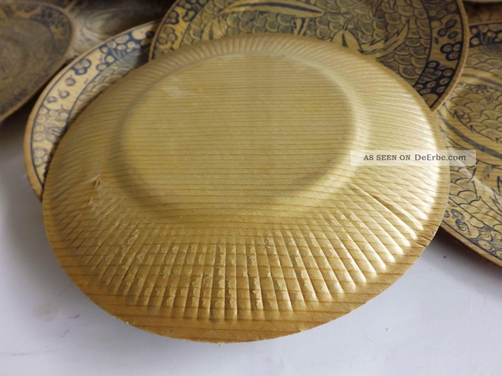 Konvolut 12 Alte Einweg Bambus Teller Mit Dekor