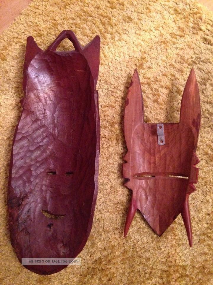 2 afrikanische masken handarbeit geschnitze holzmasken. Black Bedroom Furniture Sets. Home Design Ideas