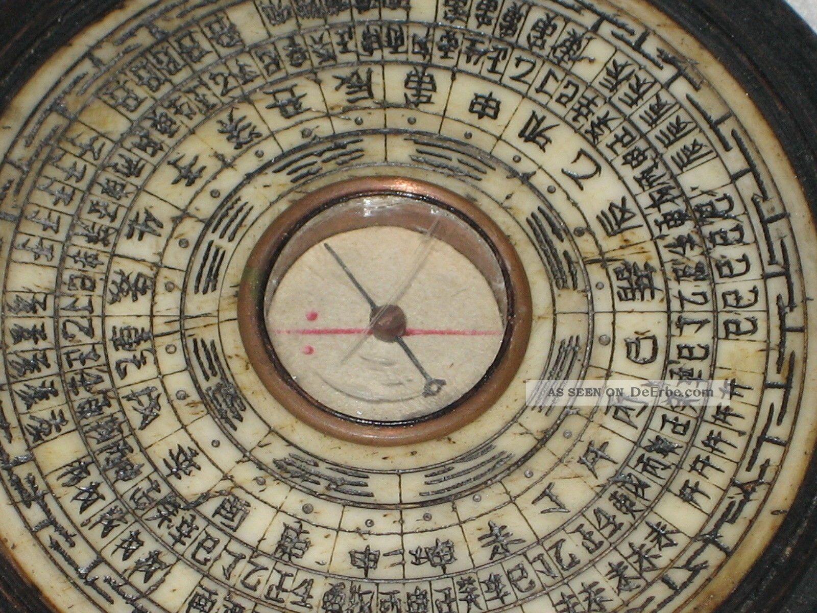 antiker feng shui kompass mit einlegearbeiten auf bein hartholzbox japan asien. Black Bedroom Furniture Sets. Home Design Ideas