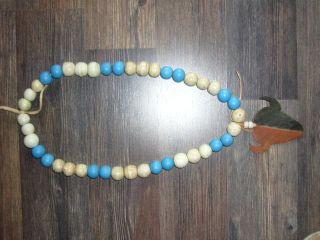 Necklace,  Kette Aus Alten Tradebeads Mit Bison Anhänger Bild